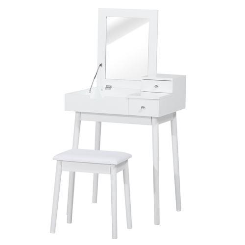 Coiffeuse table de maquillage avec tabouret miroir rabattable coffre + 2 tiroirs MDF bois massif pin blanc