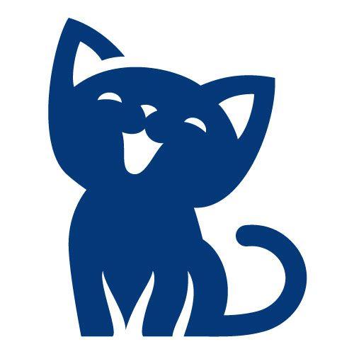 Sticker Interrupteur Chat Miaou - Dimensions 8,6 x 7 Cm - Bleu Cobalt - Brillant - Adhésifs