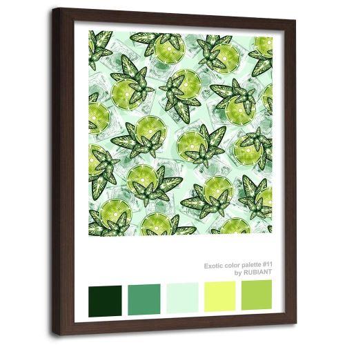 Feeby Tableau Image encadrée murale Imprimé Art cadre marron, Citron vert et menthe 70x100 cm
