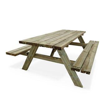 Table de pique-nique 180 cm avec bancs rabattables en bois, 6 places ...