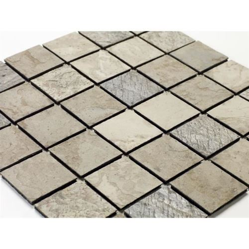 u-tile mosaique en pierre naturelle 30 x 30 xm - carreau 5 x 5 cm - mixte beige