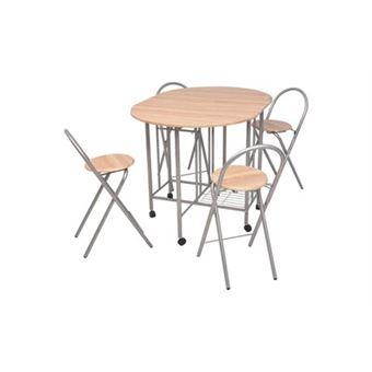 VidaXL 5 pièces pliable Table de salle à manger et chaises de cuisine meubles MDF chêne