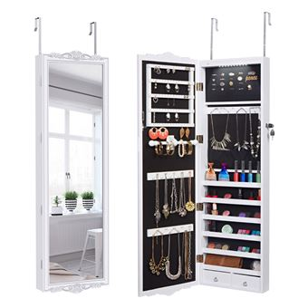 armoire bijoux avec miroir mural et lumi re led. Black Bedroom Furniture Sets. Home Design Ideas