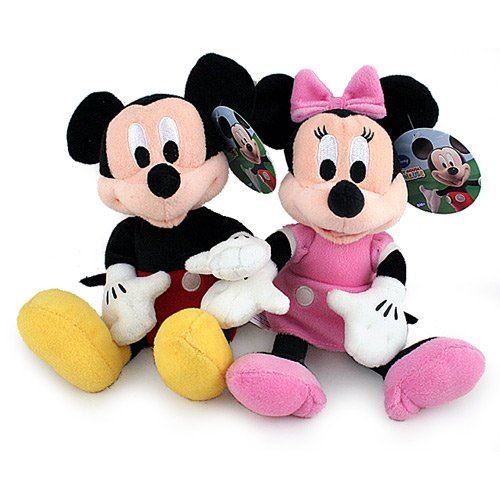 Pack peluche 10 pouces Mickey Mouse + Minnie Mouse