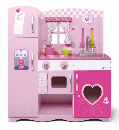 Grande cuisine rose en bois enfant 85x30,5x91 cm - dès 3 ans