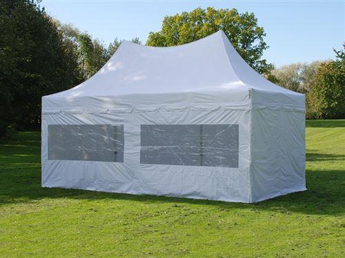 Tente pliable FleXtents PRO Peak Pagoda 3x6m Blanc, Incl. 6 parois latérales