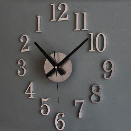 Mode Accueil Retour Dans True Time 3D Stereo Diy Metallic Horloge Murale Sl Argent PL070