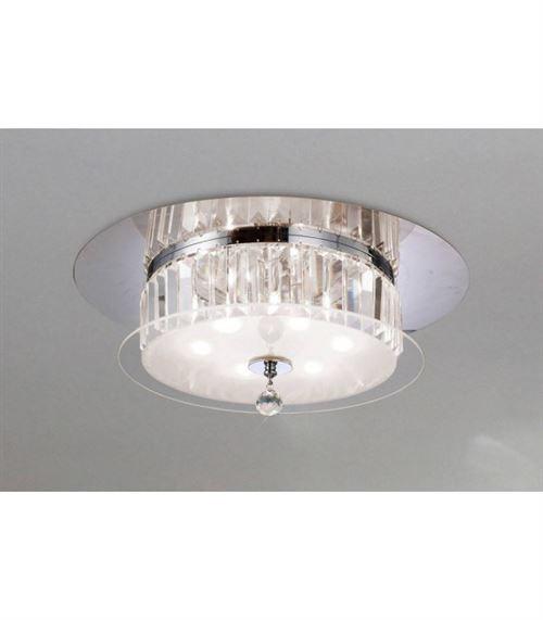 Plafonnier Tosca rond 6 Ampoules chrome poli/verre/cristal