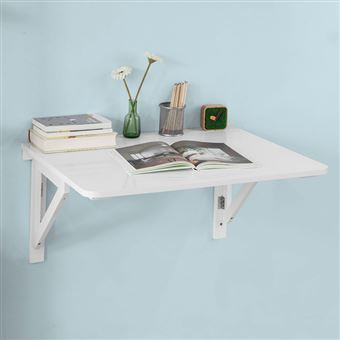sobuy table murale rabattable en bois 75 60cm blanc table de cuisine fwt05 w fr achat prix. Black Bedroom Furniture Sets. Home Design Ideas