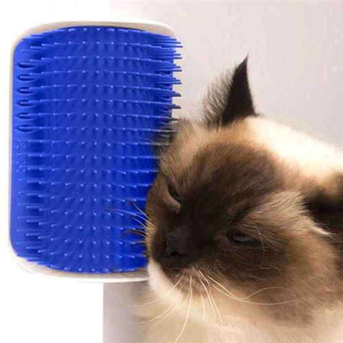 Brosse d'angle de toilettage pour chat - Bleue