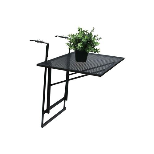The Home Deco Factory Table de balcon pliable en métal Lina Noir