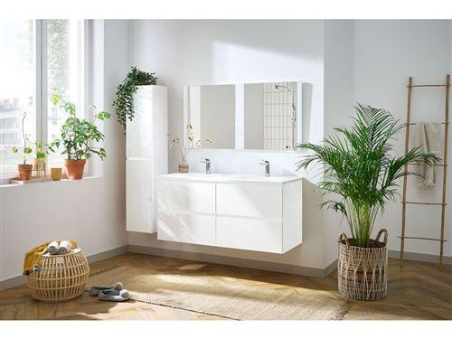 BOBOCHIC ALANI ensemble de salle de bain meuble 120 cm et colonne Blanc