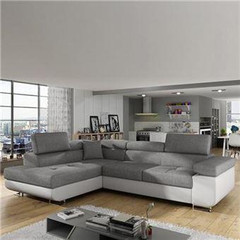 Canapé D Angle Convertible Gris Et Blanc Willis L 275 Cm X P 202 Cm X H 58 Cm