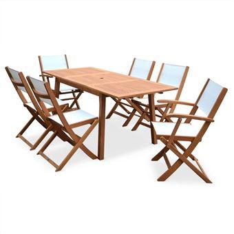 Salon de jardin en bois extensible Almeria Table 120/180cm ...