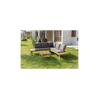 Sayada Salon De Jardin En Bois Dacacia - Un Canape Dangle Et Une Table Basse