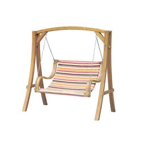 BALANCELLE DE JARDIN en bois de mélèze balançoire pour toute la famille banc 2 places en tissu à