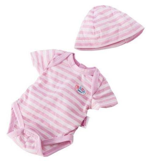 Ensemble body et bonnet raye pour poupon baby born 43 cm (ref.za02)