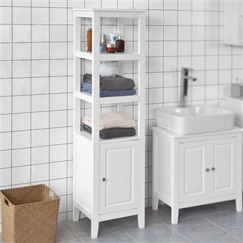 SoBuy® FRG205-W Meuble Colonne de Salle de Bain Armoire Toilette Haute –  Blanc