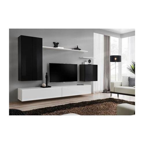 Ensemble meuble salon SWITCH II design, coloris blanc et noir brillant.