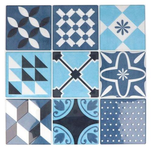 18 stickers carreaux de ciment Mosaïque azulejos 8 x 8 cm - Bleu lagon - Artemio