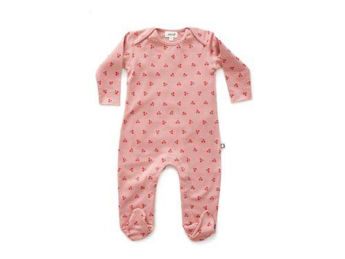 Oeuf Baby Clothes - Combinaison avec pieds cerises coton bio rose 6/9M