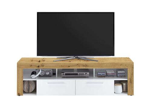 Meuble TV de 2 tiroirs et 6 niches coloris Artisan chêne / blanc - L180 x H53 x P41 cm -PEGANE-