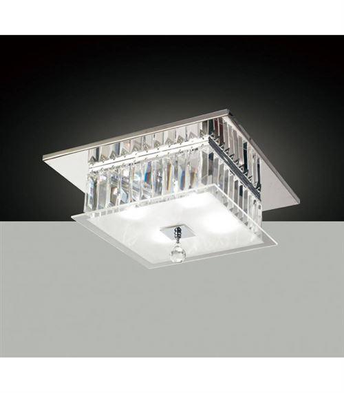 Plafonnier Tosca carré 4 Ampoules chrome poli/verre/cristal