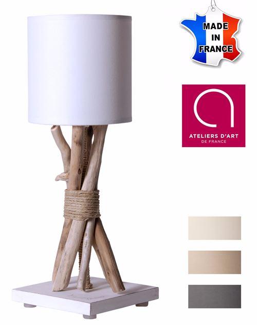Lampe de table artisanale en bois flotté naturel - Personnalisable - Fabriquée à la main en France - Blanc avec personnalisation - 13