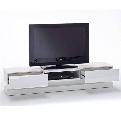 Meuble TV design SHIVA 2 tiroirs laqué blanc brillant éclairage led intégré