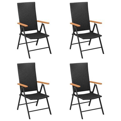 Chaises de Jardin Résine Tressée 4 Pcs - Noir