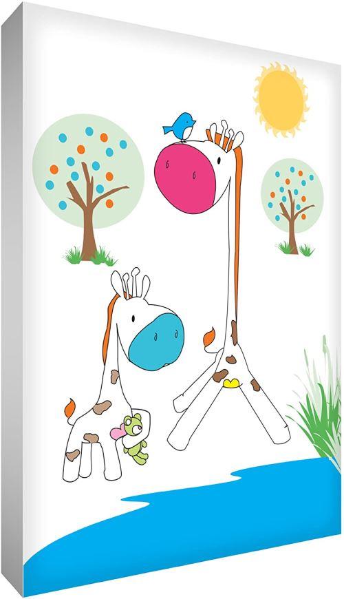 Little Helper gir2436–12 G Feel Good Art Tableau en toile de lin épaisse Bijoux mural – Girafe maman et bébé girafe au trou d'eau, 91 x 60 cm