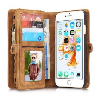 coque iphone 8 etui portefeuille marron