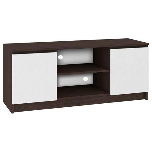 DUSK   Meuble bas TV contemporain salon/séjour 140x55x40 cm   2 niches + 2 portes   Rangement matériel audio/video/gaming   Wenge/Blanc