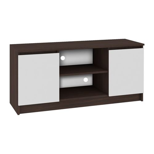 DUSK   Meuble bas TV contemporain salon/séjour 120x55x40 cm   2 niches + 2 portes   Rangement matériel audio/video/gaming   Wenge/Blanc