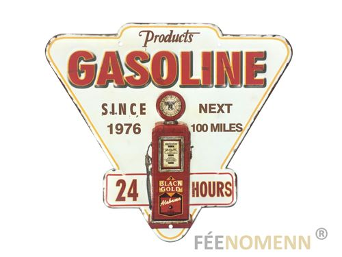 plaque métal déco vintage - effet relief - station pompe à essence gasoline route 66 (27x30cm)