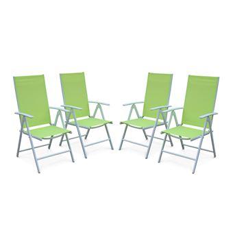 Lot de 4 fauteuils multi-positions - Naevia - en aluminium blanc et ...
