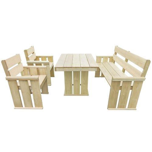 chunhe Mobilier à dîner d'extérieur 4 pcs Pin imprégné AB43262