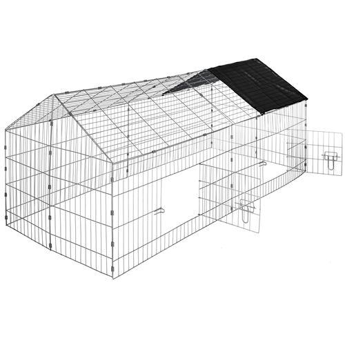 TecTake Enclos pour rongeurs 180 x 75 x 75 cm - noir