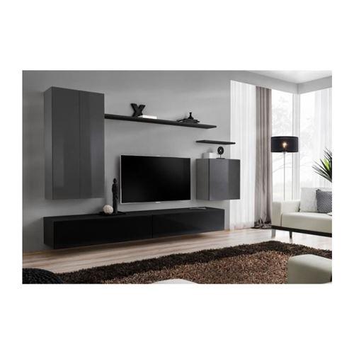 Ensemble meuble salon SWITCH II design, coloris gris et noir brillant.