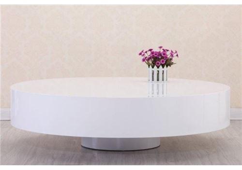 118 Sur Chloe Design Table Basse Ronde Laquee Belius Blanc