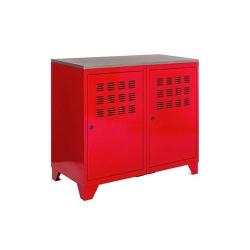 Pierre Henry - Armoire de rangement métal 2 portes Rouge