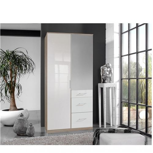 Armoire COOPER 2 portes miroir 3 tiroirs largeur 91 laqué blanc / décor chêne