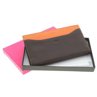 nouveaux styles 54839 a9056 Kinsell® Chic et tendance Porte Chéquier Portefeuille Homme / Femme En Cuir  De Vachette Marron - Orange