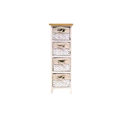 VENEZIA Petit meuble de salle de bain L 24 cm - Laque blanc brillant et bois