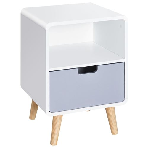 Chevet table de nuit design scandinave 40L x 38l x 58H cm tiroir + niche bois massif pin MDF blanc bleu gris