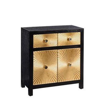 meuble dentre 2 portes 2 tiroirs noiror monoi l 81 x l 40 x h 81 achat prix fnac