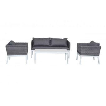 640€ sur Paris prix - salon de jardin \'bahia\' 5 places blanc & gris ...