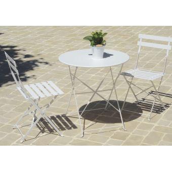 Table De Jardin Pliante Carrée Coloris Blanc (Chaises Non Inclues ...