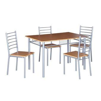 Manger4 Métal Et Coloris Bois À Cuisine Ankara Table Design De NatureEnsemble Chaises Salle Repas n0POw8k