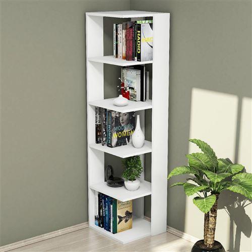 Etagère bibliothèque d'angle design Olgha - L. 42 x H. 161 cm - Blanc